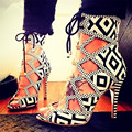 Fashion Mixed Color Women Sandals Lace Up Peep Toe Gladiator Thin High Heels Ladies Stiletto Shoes Women Pumps Sandalias Mujer