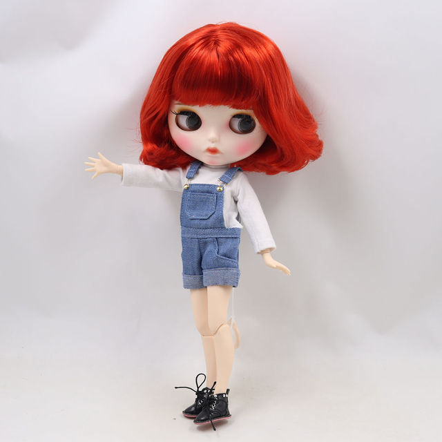 Blyth doll 1/6 bjd white skin joint body Cute red short curly hair new matte face with eyebrows Lip gloss ICY sd toy
