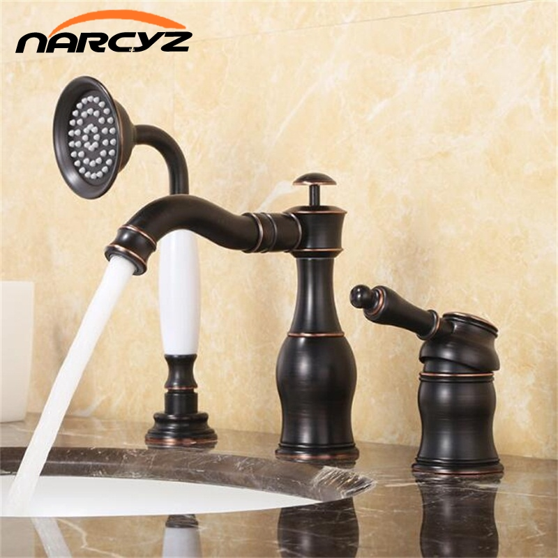все цены на Bathtub Faucet Brass Black Deck Bathroom Sink Faucet Set 3 PCS Ceramic Handheld Basin Mixer Tap 2 ways of out water XR8213 онлайн