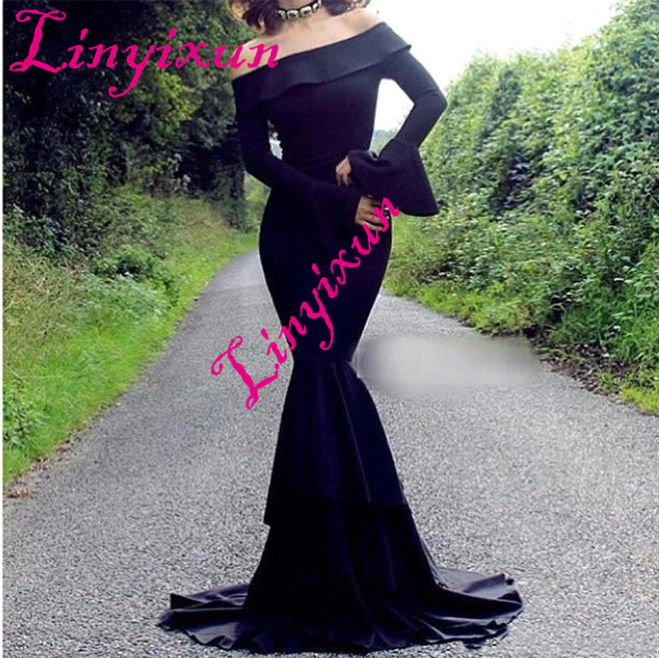 Linyixun High Quality Satin Mermaid   Evening     Dress   Long 2018 Sexy Prom   Dresses   Long Sleeveless Sweep Train Formal Party Gowns