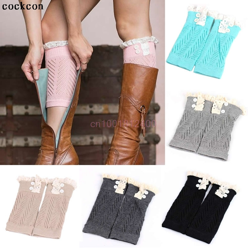 ᗕMujeres crochet knit Encaje ajuste Calentadores para piernas puños ...