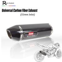 51 мм Универсальный мотоцикл выхлопной R77 углеродное волокно Глушитель Трубы Escape Moto Racing для cbr650 1000 cb650f gsxr600 750 MT09