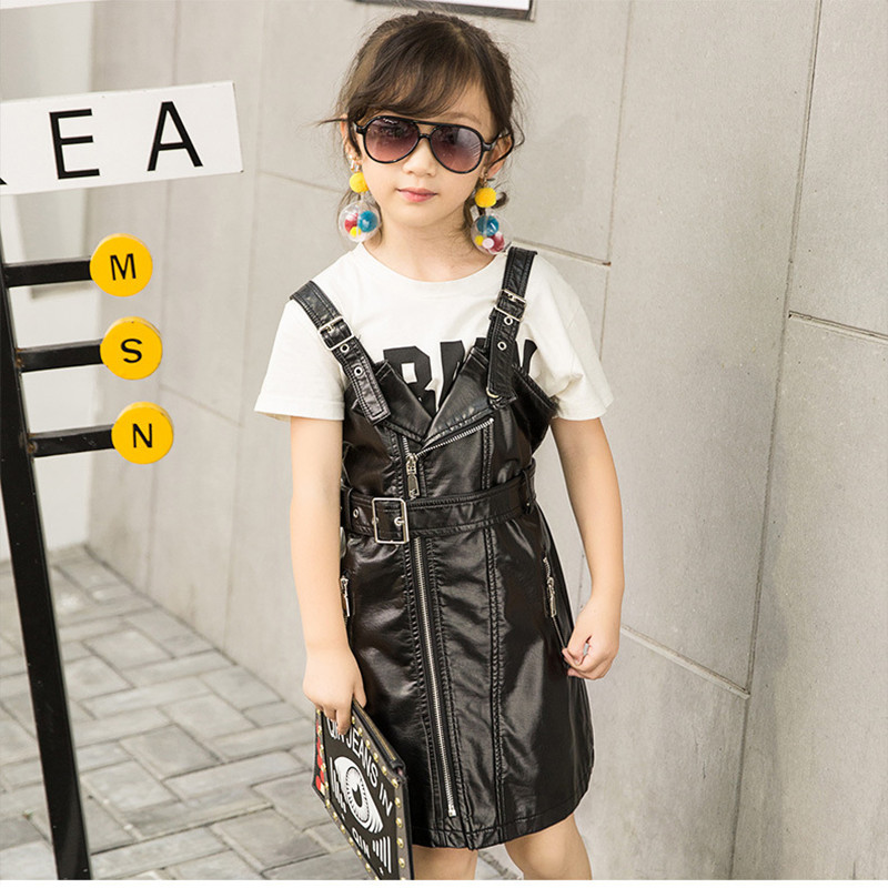 Girls black dress autumn stylish slim design pu leather strap dress spring cool girl princess dress childrens occident 18M03Girls black dress autumn stylish slim design pu leather strap dress spring cool girl princess dress childrens occident 18M03