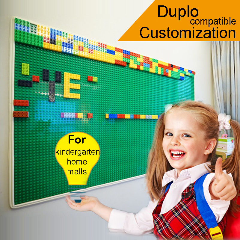 1 square meters big dot customization baseplate Wall building block compatible with duplo brick MOC for kingdergarten malls