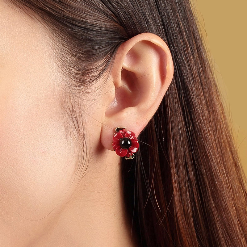 1 Pair Flower Jewelry High Quality Vintage Wedding Jewelry gift handmade Jewelry Earring For Women Drop Earrings Accessories pair of vintage alloy rhinestone flower earrings for women