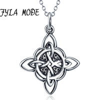 FYLA MODE Handmade Celtics Pendant Antique 100 Sterling Silver Totem Necklace Cross Viking Jewelry For Men