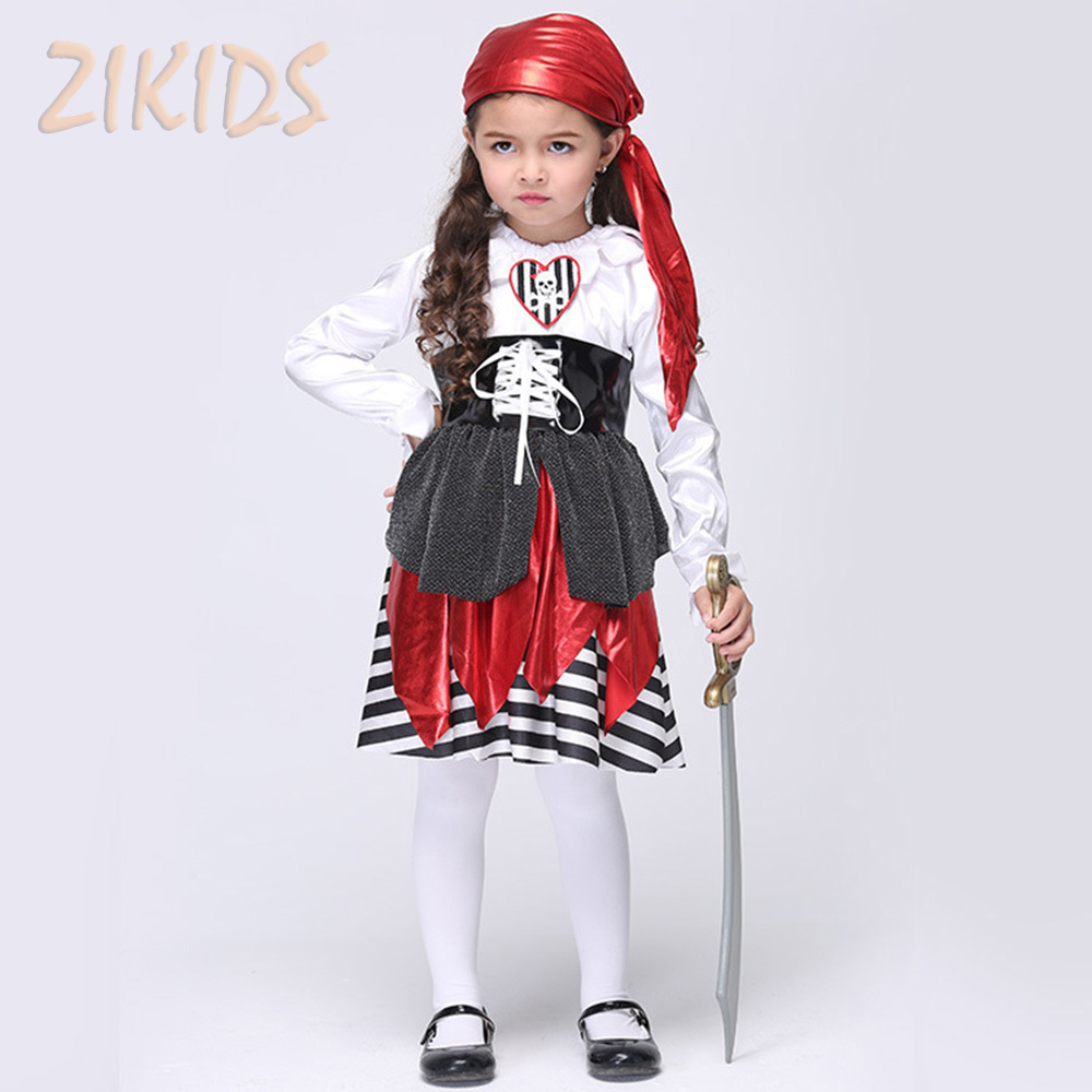 Girls Halloween Pirate Cosplay Performance Costume Children Clothing Sets Girl Party Tiered Dresses Suits (Dress+Scarf+Belt)