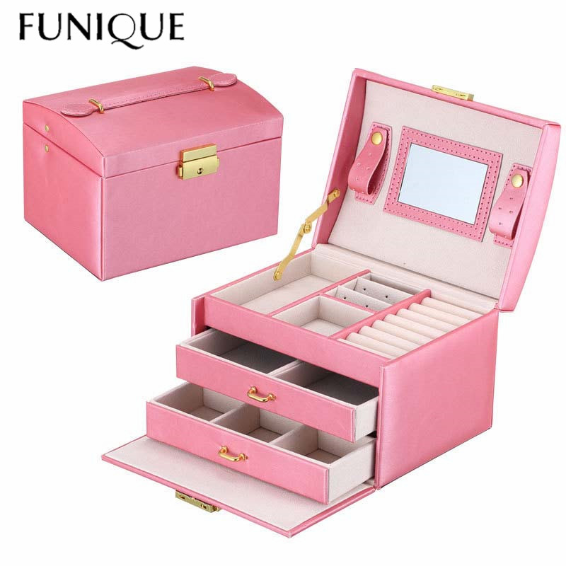 FUNIQUE Jewelry Packaging Box Casket Box For Jewelry Exquisite Makeup Case Jewelry Organizer Container Boxes Birthday Gift