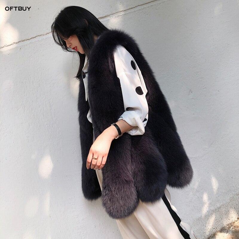 OFTBUY 2019 spring autumn jacket women real fur vest female big natural fox fur long parka