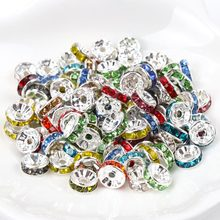6mm 8mm Metal 23 color Crystal Rhinestone Rondelle Spacer Loose Beads For DIY Jewelry Making Accessories 50pcs