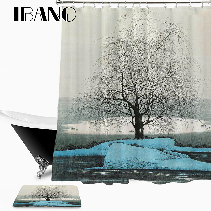Moon Night Shower Curtain Waterproof Polyester Fabric 180x180cm Shower Curtain And 40x60cm Bath Floor Mat For The Bathroom
