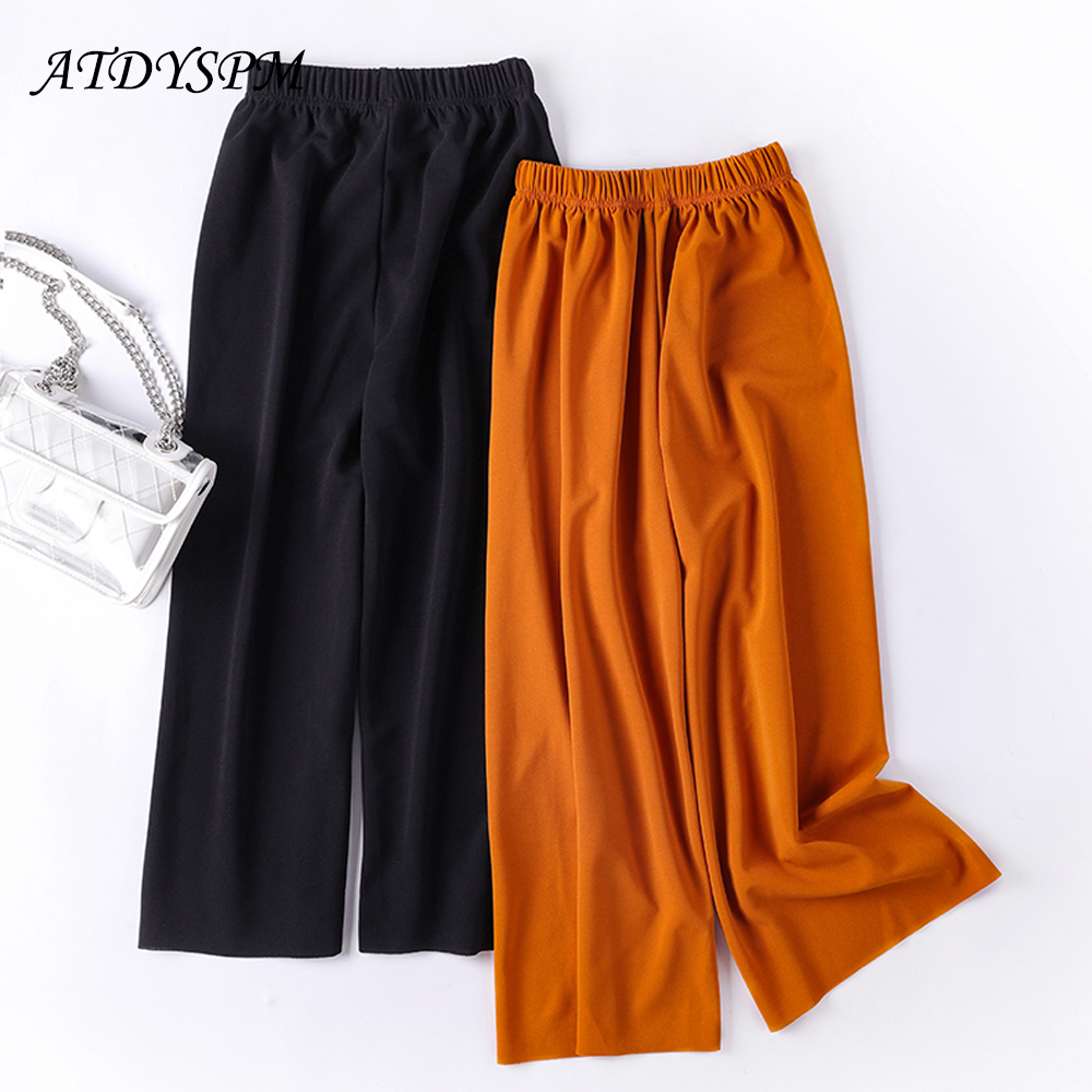 2019 new summer women   wide     leg     pants   elastic waist loose women casual ankle length   pants   comfortable home wear   pants