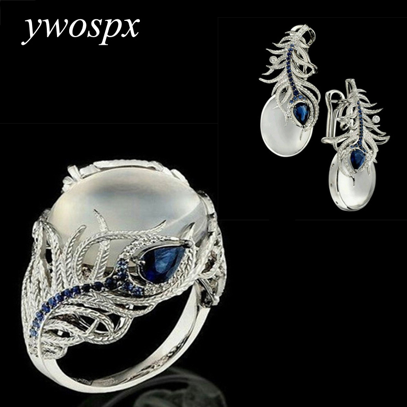 YWOSPX Elegant Wedding Jewelry Sets Vintage White Moonstone Silver Color Feather Rings / Earrings for Women Gift Brincos Anillos