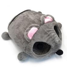 회색 마우스 고양이 집 침대 휴대용 따뜻한 고양이 동굴 침대 이동식 하단 방수 부드러운 적합한 애완견 개 쿠션 고양이 침대 집