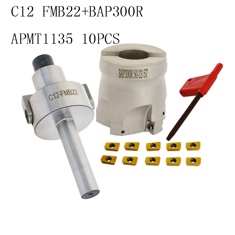 1set C12 FMB22 Shank + BAP300R 50 22  Indexable Face Mill Cutter 5 Flutes Endmill Right Angle Shoulder For APMT1135 Inserts