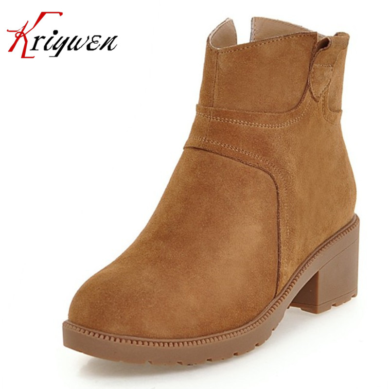 ФОТО Black Free Shipping 2017 autumn Winter New Arrival round toe med High Heels Shoes cow split work safety ladies ankle short Boots
