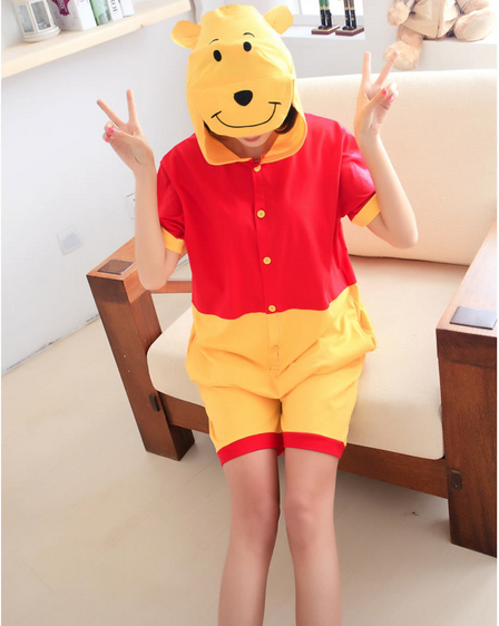 Anime Cute Bear Summer Adults Unisex Onesie for Women Men All In One 100% Cotton Cos Hooded Pajamas Pyjama Sleepwear