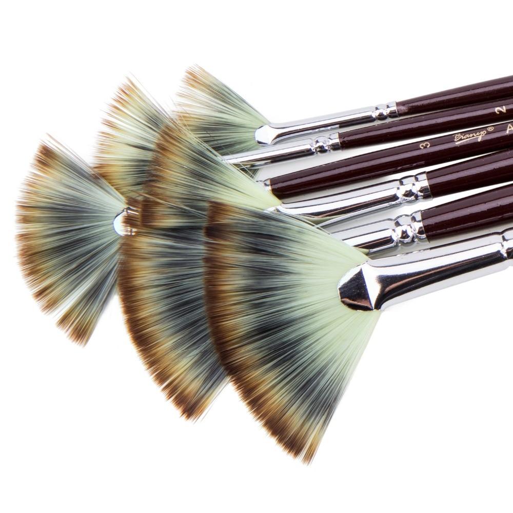 6Pcs Fan shaped Nylon Hair Gouache Watercolor Paint Brush Set for School Painting Drawing Painting Brush Art Supplies(China)