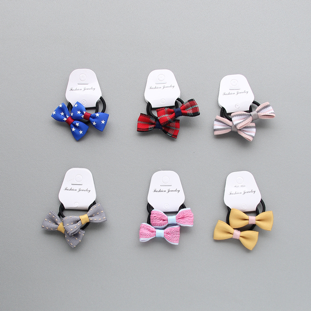 2pcs/lot Children's jewelry baby bow baby girl hair band rubber band hair accessories