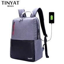 TINYAT мужской рюкзак 15,6 дюймов рюкзак для ноутбука USB зарядка Рюкзак из парусины мужской рюкзак для путешествий Mochila Школьный Рюкзак серый T811