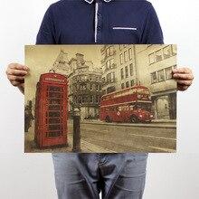 Лондонский красный автобус и телефонная будка винтажная крафт-бумага плакат украшение дома художественные журналы классическое украшение кафе бар