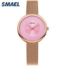 SMAEL Women Watches Luxury Brand Watch Stainless Steel Waterproof Clock Ladies 1908 montre femme Retro Quartz Wristwatches Women belbi brand fashion women stainless steel bracelet wristwatches ladies dress watches clock casual quartz watch montre femme