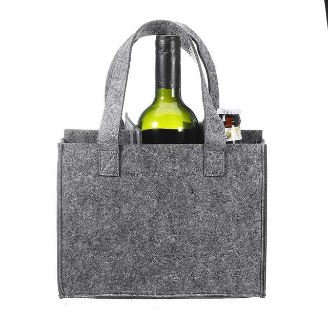 Reusable Fashion Felt Bag Wine Holder Beer Bottle Shopping Tote Bag Bottle Carrier with 6 Bottles Divider Washable Grey 3