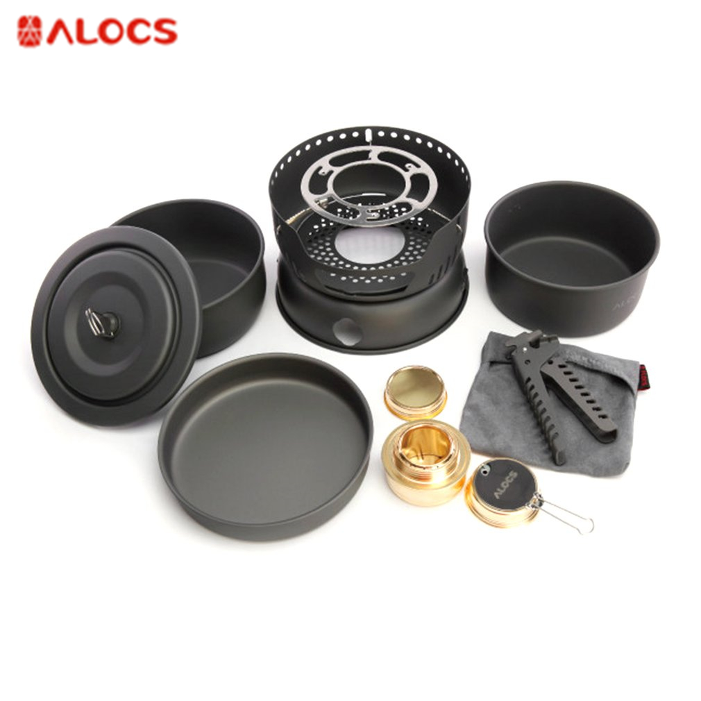 ALOCS CW-C05 Cookware Set With Alcohol Stove Portable 2-3 People Cooking Pots Frying Pan Stove for Travel Backpacking Camping alocs cw c19t 2 3 people outdoor camping cook set 5 pieces with bag 2 2l pot 1 4l teapot 7 5 inches frying pan