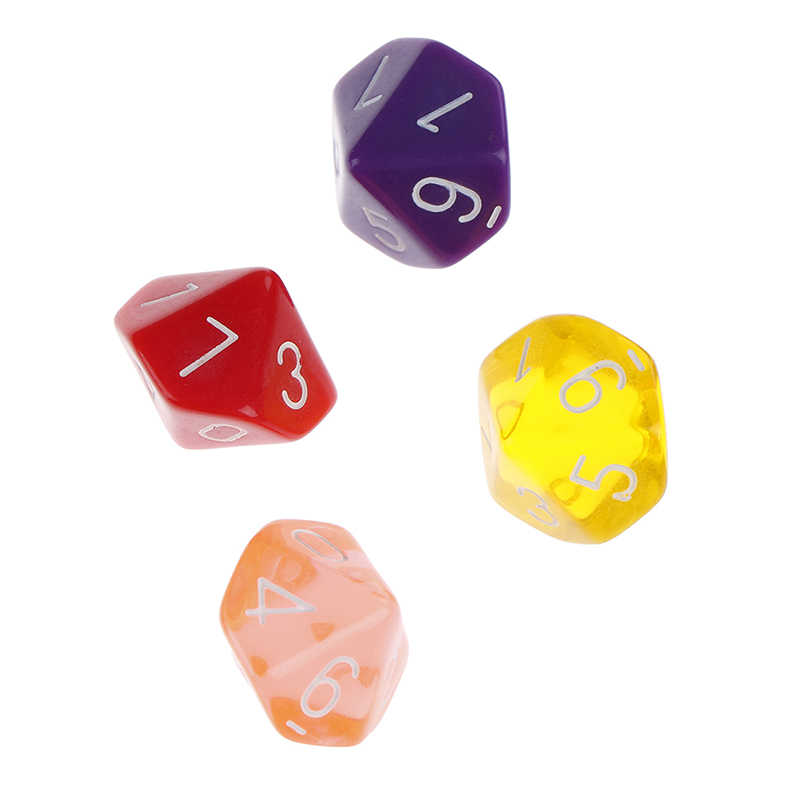 4 Uds transparente Multicolor D10 RPG 10 dados morir 10 De dado de GEMA de calabozos y dragones jugando juegos