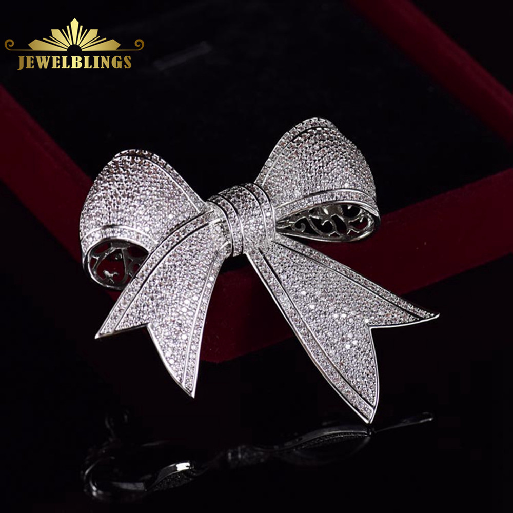 Bling Micro Pave CZ Victorian Ribbon Bow Brooches Silver Toney Tinny Clear CZ Pave Antique Bowtie Pins