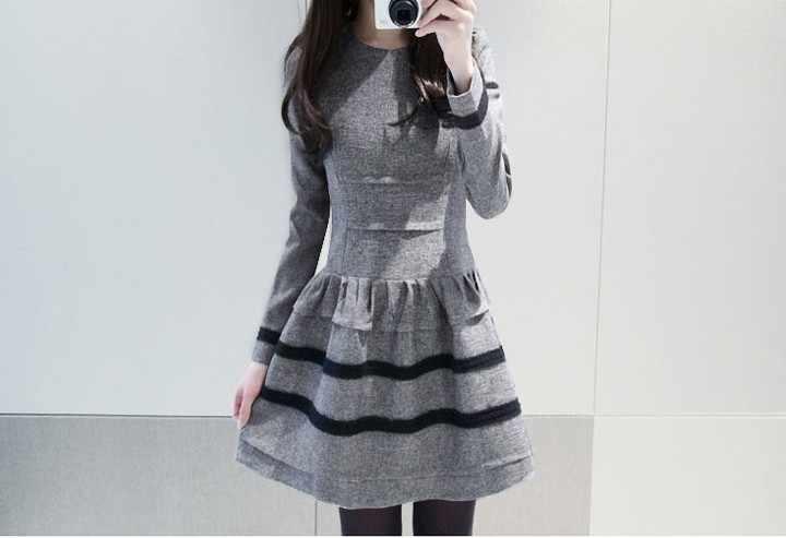 2019 новое платье для девочек, повседневное сексуальное платье на осень-зиму Мягкое платье с длинными рукавами леди Офисная Рабочая одежда черного и серого цвета Размер XL # E284