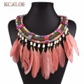 2017 New Vintage Women Collar Rope Handmade Feather Necklace Bijoux Femme  Ethnic Jewelry Braided Tassel Bohemian Necklaces