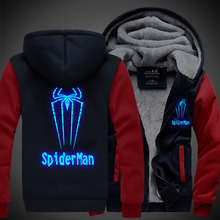 Hot sale New Winter Jackets and Coats SpiderMan hoodie Anime Luminous spider-man Hooded Thick Zipper Men cardigan Sweatshirts