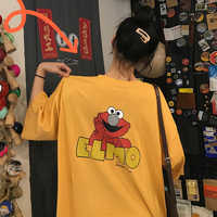 Preppy Style Sesame Street Elmo Printed T shirt Women Cotton Kawaii Harajuku Oversized Summer Top Tshirt Ulzzang Streetwear Tee