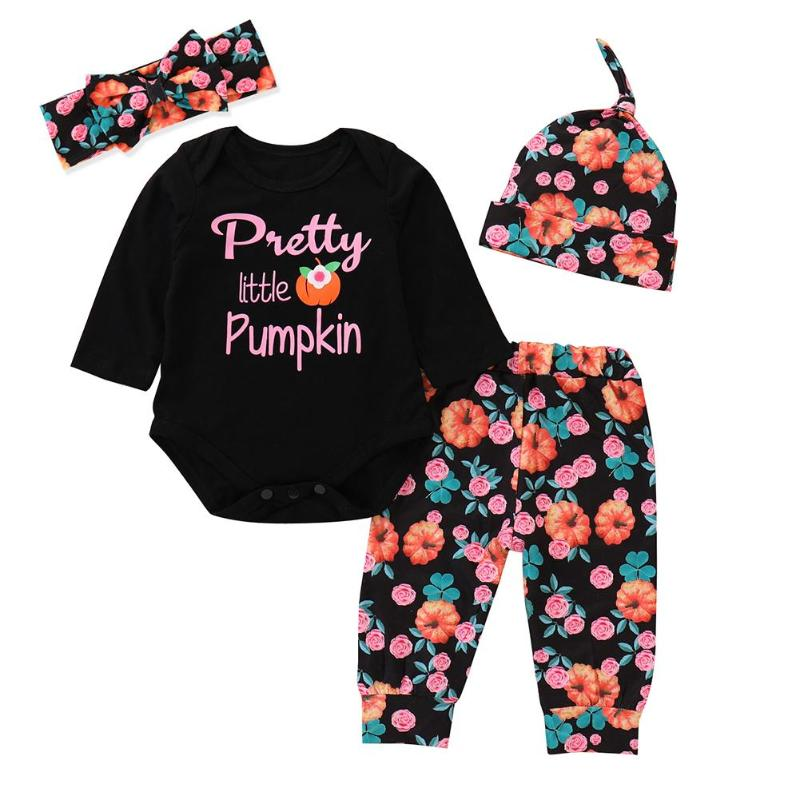 Romper Legging Clothing-Set Tops Pant Outfits Headband Pumpkin Floral Newborn-Baby Black