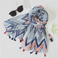 Wave Striped Viscose Shawl Scarf 2016 Spain Scarf Luxury Brand Printed Cotton Voile Mujer Headband Foulard Soie Muslim Hijab