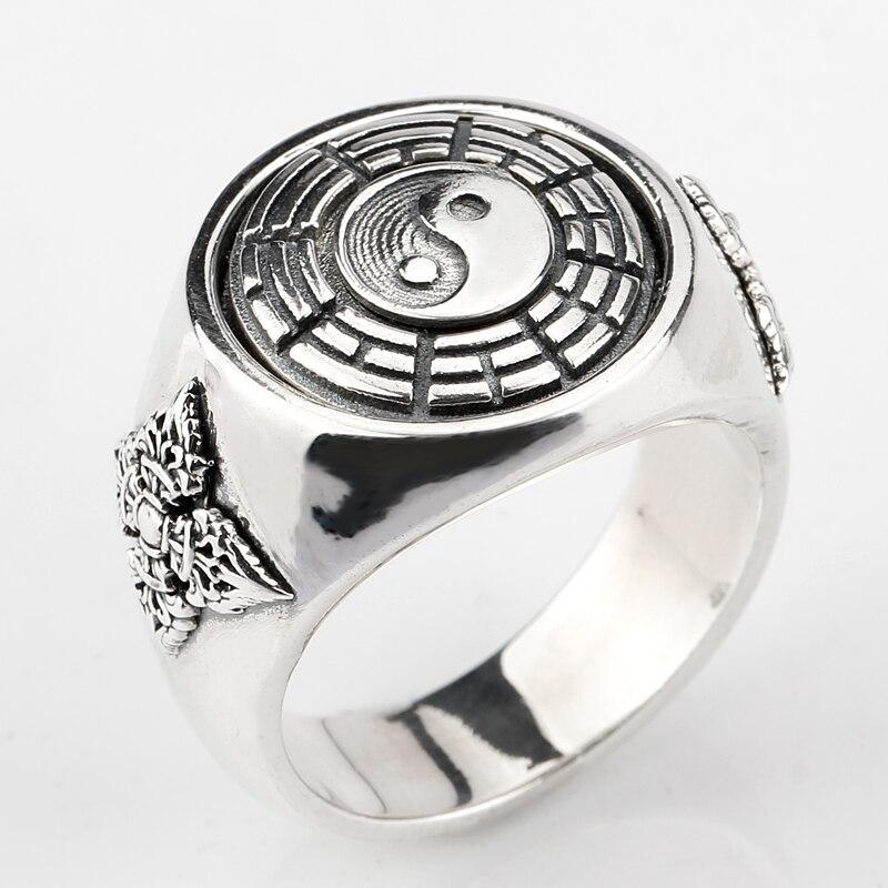 925 Sterling Silver Men Ring Tai chi Yin Yang Gossip Prayer Asian Antique Ring For Men