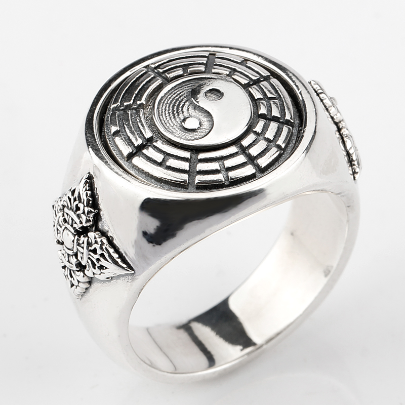 925 Sterling Silver Finger Ring Tai chi Yin Yang Gossip Pray