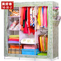 Simple wardrobe Double-capacity steel folding assembly thick non-woven fabric modern minimalist wardrobe queen