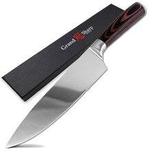 Grandsharp 8 인치 고품질 요리사 칼 높은 탄소 AUS 8 일본 스테인리스 pakka 손잡이 부엌 칼 요리 공구
