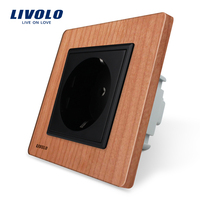 Free Shipping Livolo EU Standard Power Socket Cherry Wood Panel AC 220 250V 16A Wall