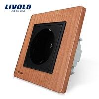 Free Shipping Livolo EU Standard Power Socket Cherry Wood Panel AC 220 250V 16A Wall