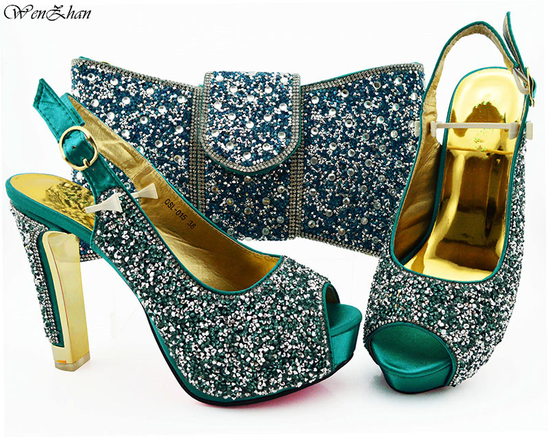 Pretty Italian Shoes With Matching Bags Teal Color Italy Shoes and Bags To Match For Wedding High Heel Women 38-43 WENZHAN B94-5
