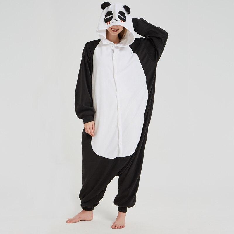 Lovely Panda Black Soft Adult Onesies Animal Pajamas Unisex Men Pyjamas Party Jumpsuit Warm Polar Fleece Winter Funny Kigurumi