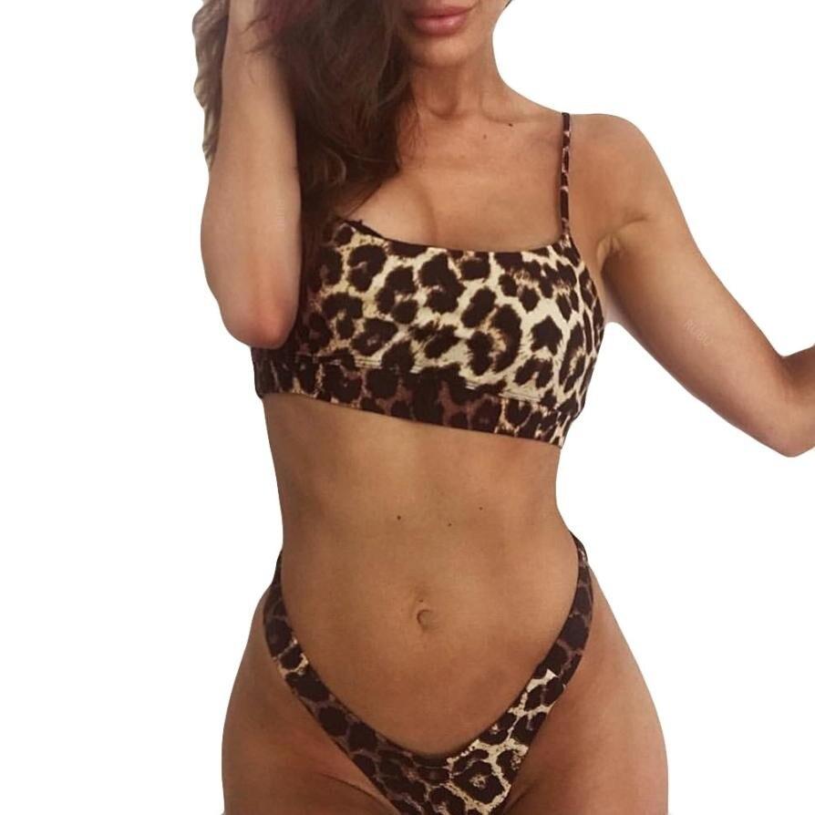 Low Waist swimwear women Women Bikini Set Leopard Print Push-Up Padded Bra Beach  Swimsuit maillot de bain femme # BB costumi moda 2019