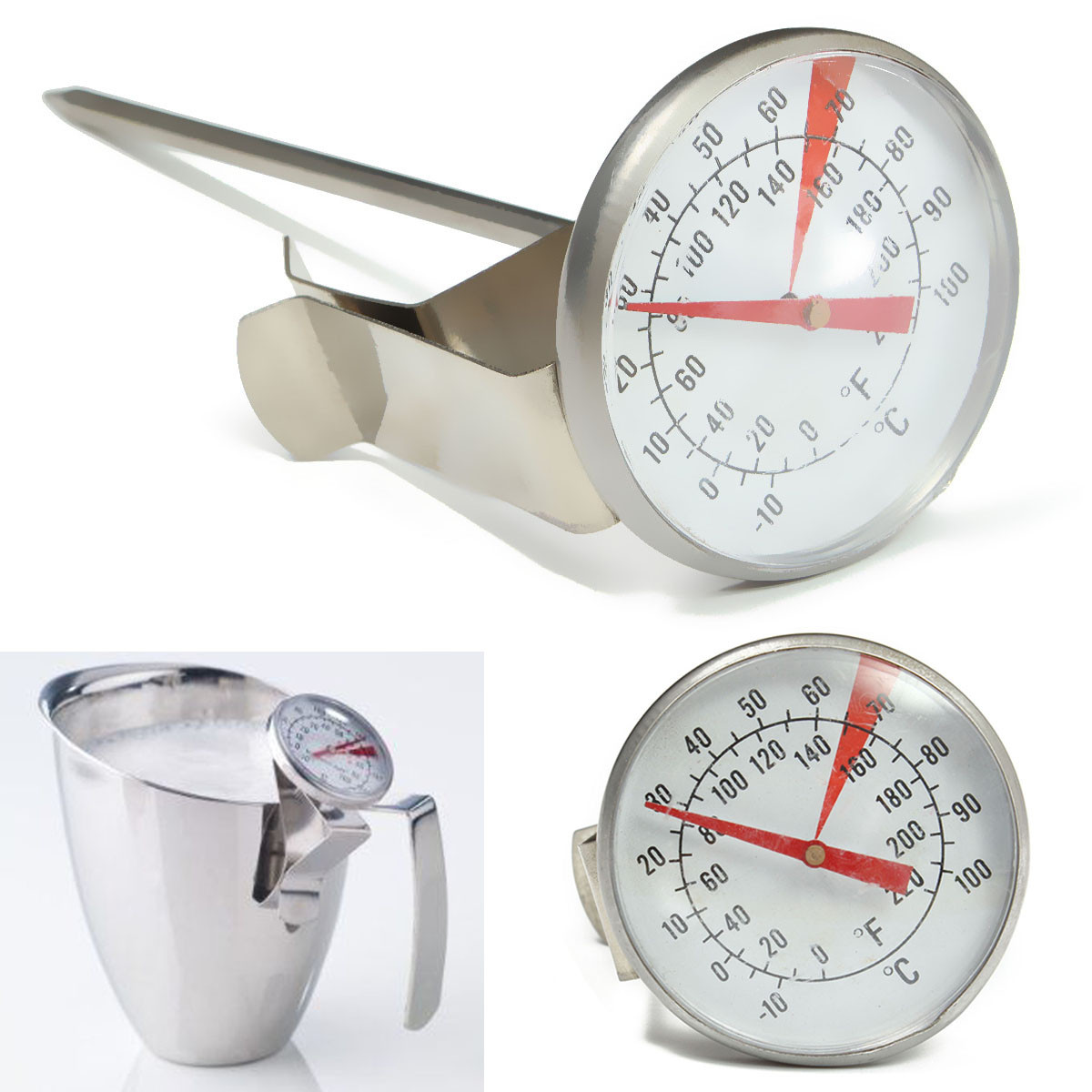 Stainless Steel Thermometer Kitchen Cooking Food Probe Milk Coffee Liqued Meat Gauge Household Thermometers Clip Baking Tools