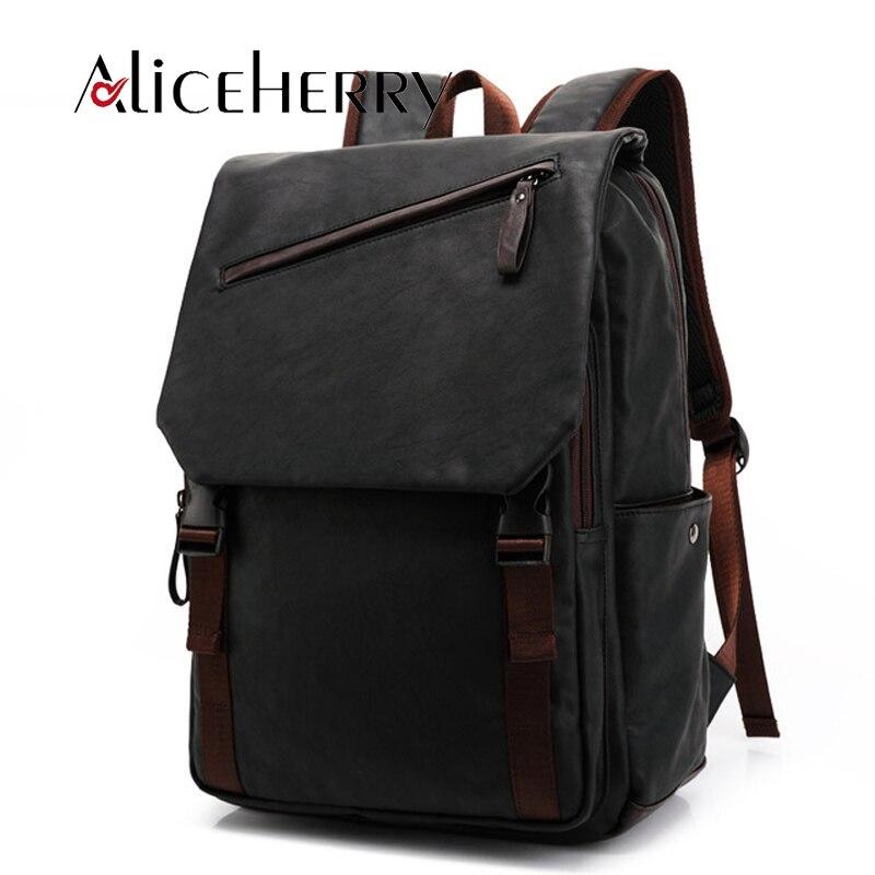 New 2017 Backpack Laptop Men Pu Leather Fashion Vintage Travel Men Bag for Teenagers shoulder backpack fashion 2017 pu leather backpack for men famous brand travel backpack bag men students shoulder bag daypack bookbags bp00075