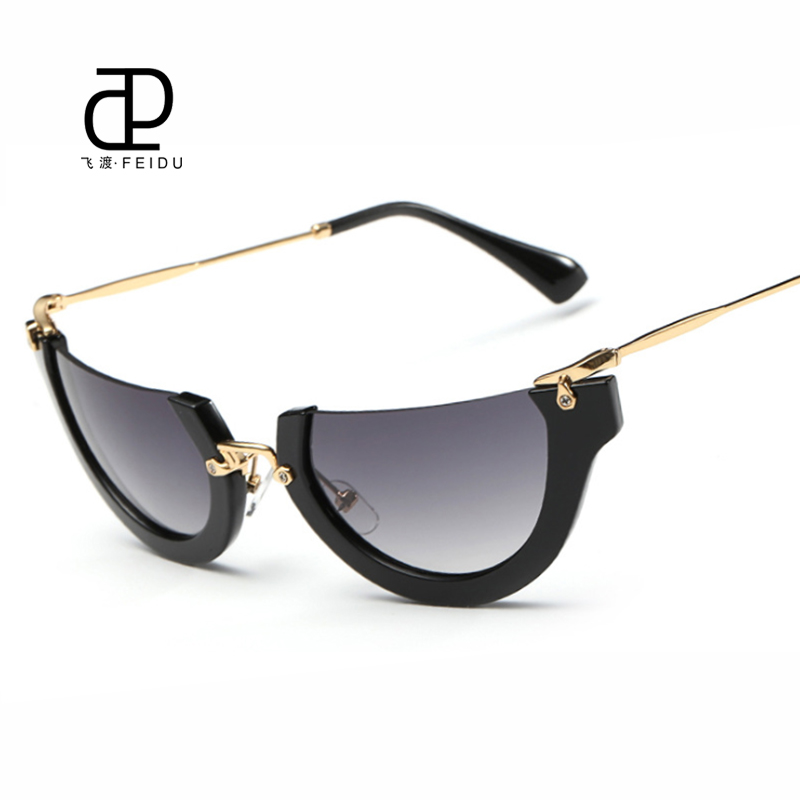 eb4133a1f1e29 ... Oculos de sol · FEIDU Newest Semi Rimless Sunglasses Women Brand  Designer Half Frame Womens Cat Eye Sun Glasses Gafas