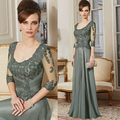2017 New Arrival Lace Mother Of The Bride Dresses Custom Made A Line 3/4 Sleeve Beads Floor Length Gown Long Evening Dress