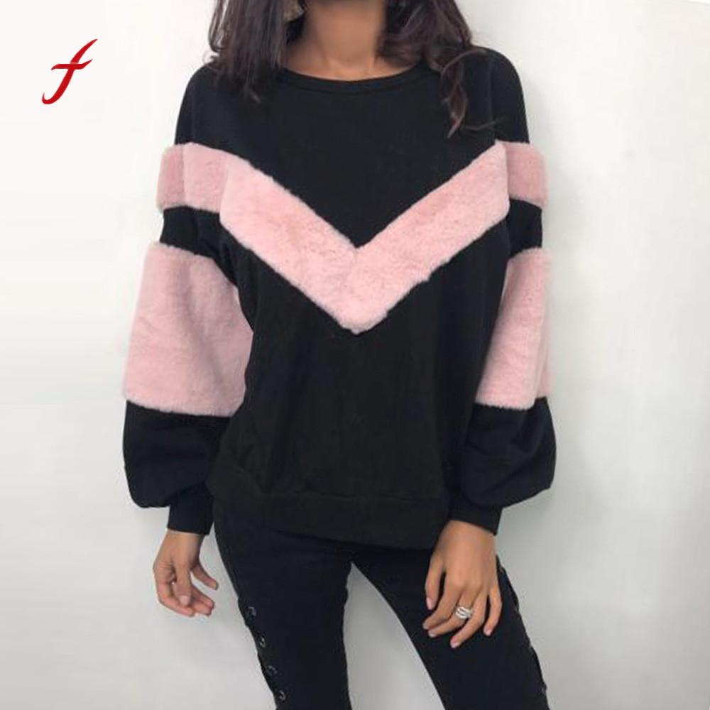 FEITONG Women s sweatshirt O Neck Patchwork Cashmere Long Sleeve Jumper Pullovers Tops Blusa New Autumn